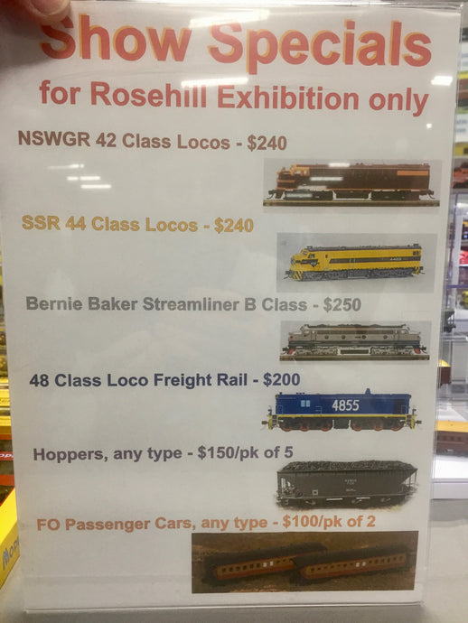Show Specials at Rosehill Racecourse for the EMRC Inc Annual Model Railway Exhibition June Long Weekend 2019
