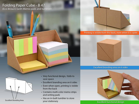 Folding paper cube with memopad