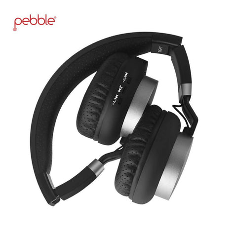 Pebble Elite Black On-Ear Bluetooth Headphones with mic