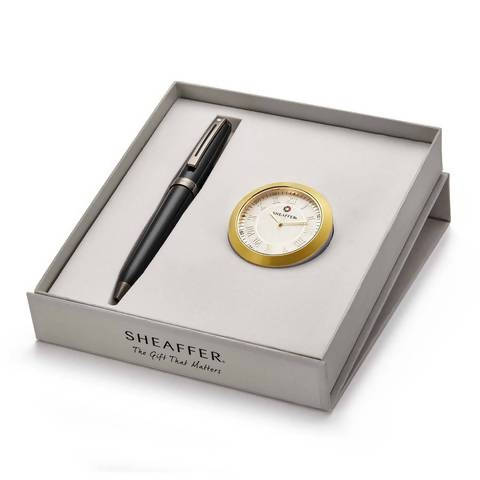 Customised corporate pen and table clock gift combo