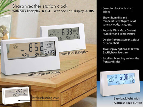 Sharp weather station clock with see-thru display