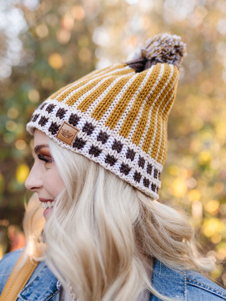You Hat Me At Hello Gold Knit Hat