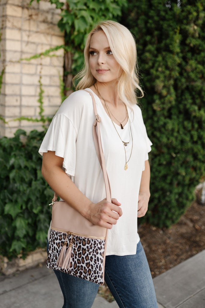 Dusty Pink Leopard Shoulder Bag