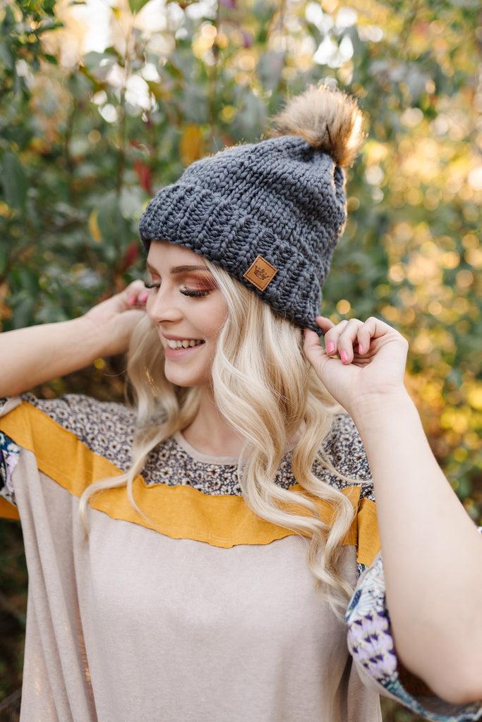 You Hat Me At Hello Dark Charcoal Cable Knit Hat