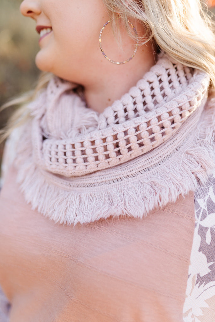 All Tied Up In You Soft Pink Infinity Scarf