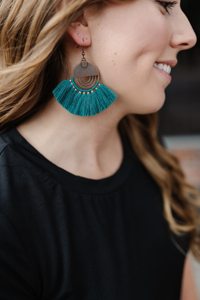 Dress Me Up Earrings In Teal