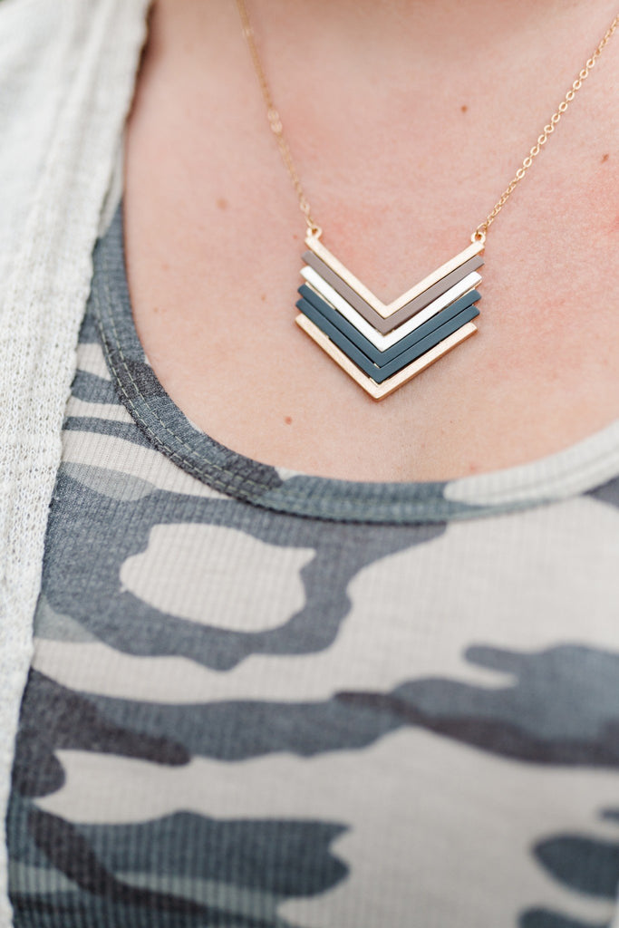 Slate Colors Chevron Necklace