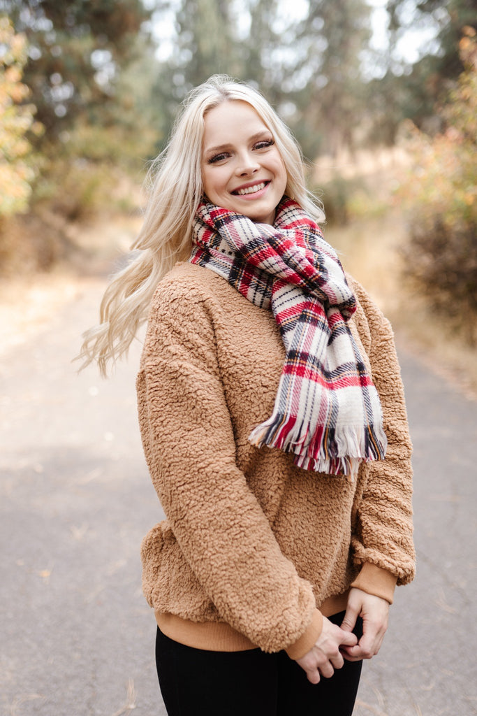 All Tied Up in You Reversible Plaid/Hounds Tooth Long Scarf
