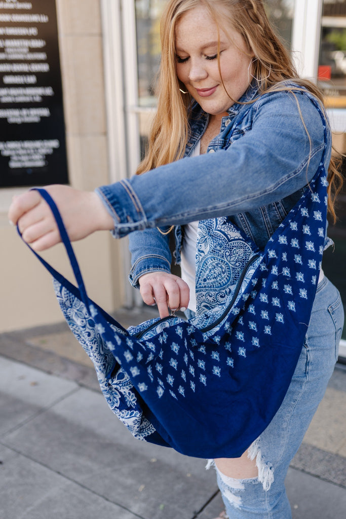 Handcrafted Blue Paisley Block Print Boho Bag