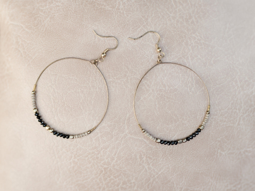All For Vintage Beaded Hoop Earrings