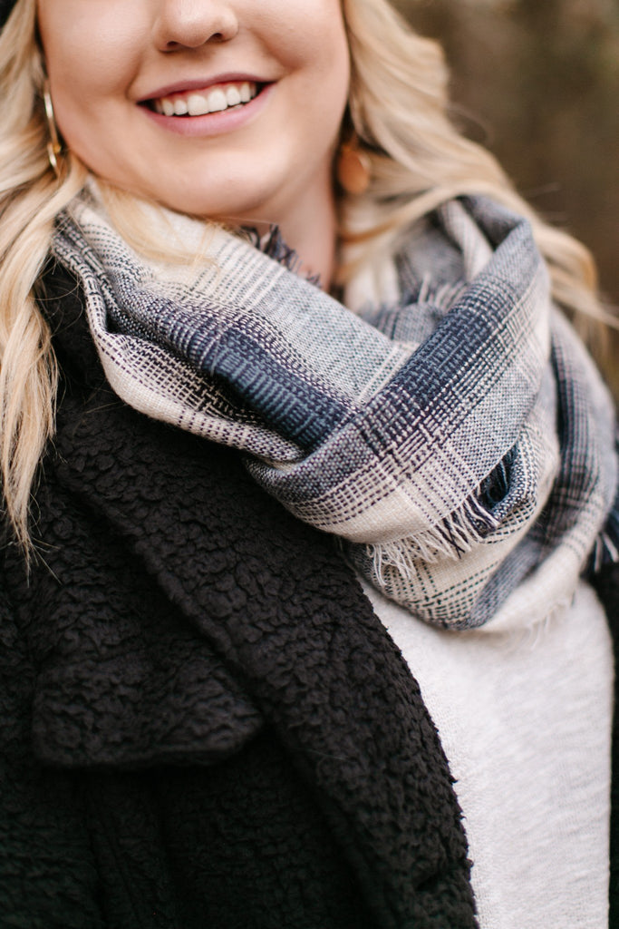 All Tied Up In You Wheat & Blue Infinity Scarf