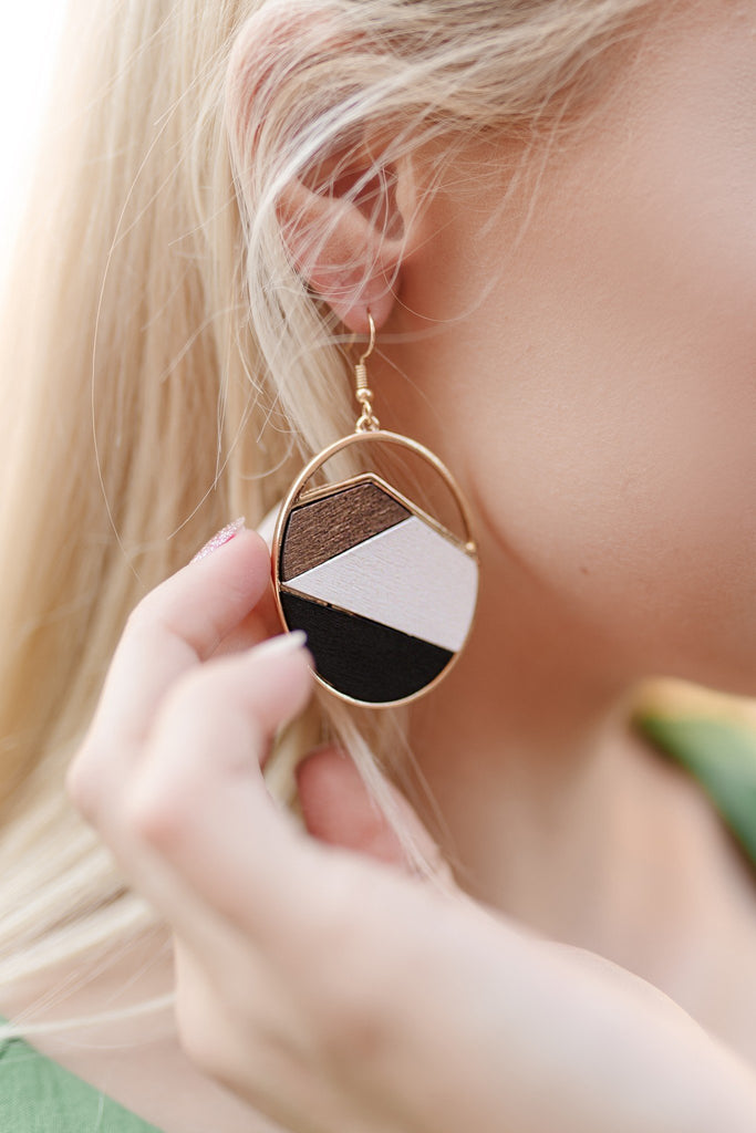Wooden Texture Oval Earrings