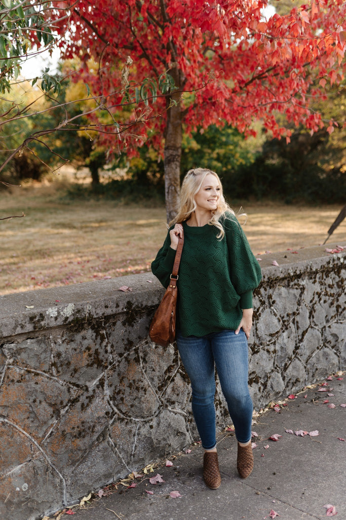 Seasons Of Change In Kelly Green Dolman Sweater