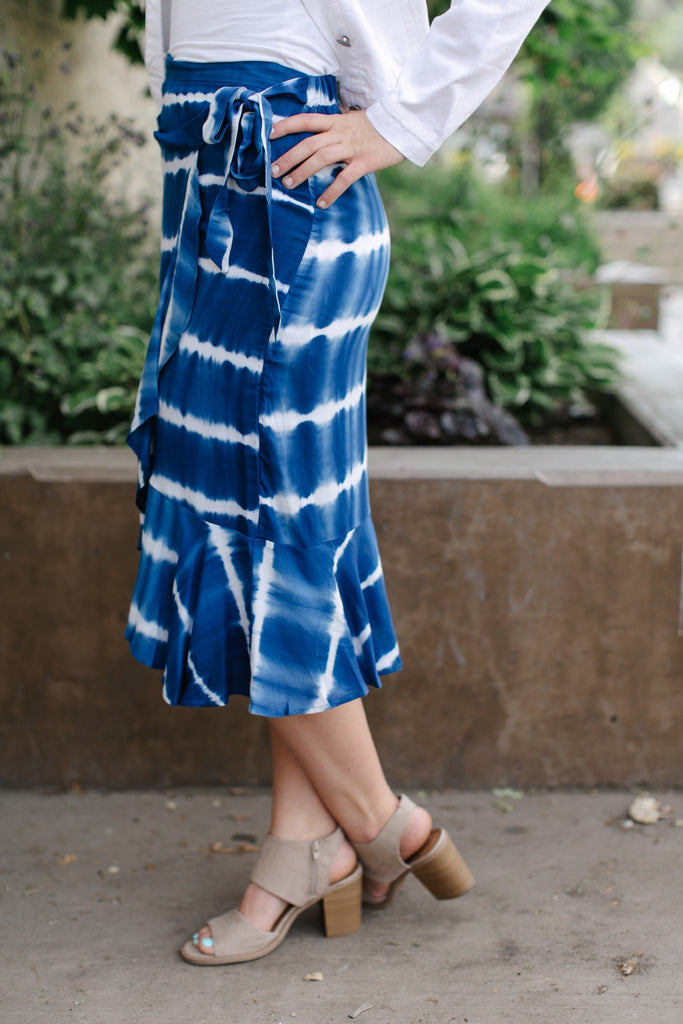 Ocean Breeze Faux Wrap Skirt