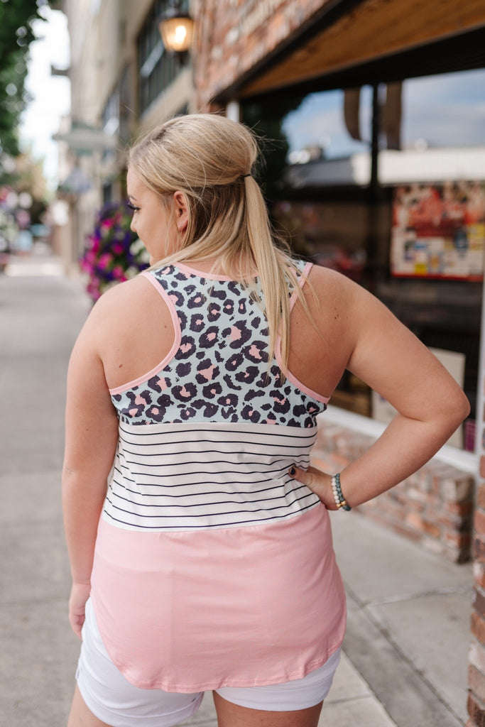 Bubblegum Mint Leopard Print Sleeveless Top