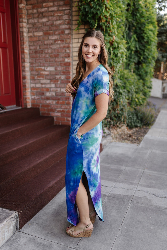 Peacock Feathers Maxi Dress