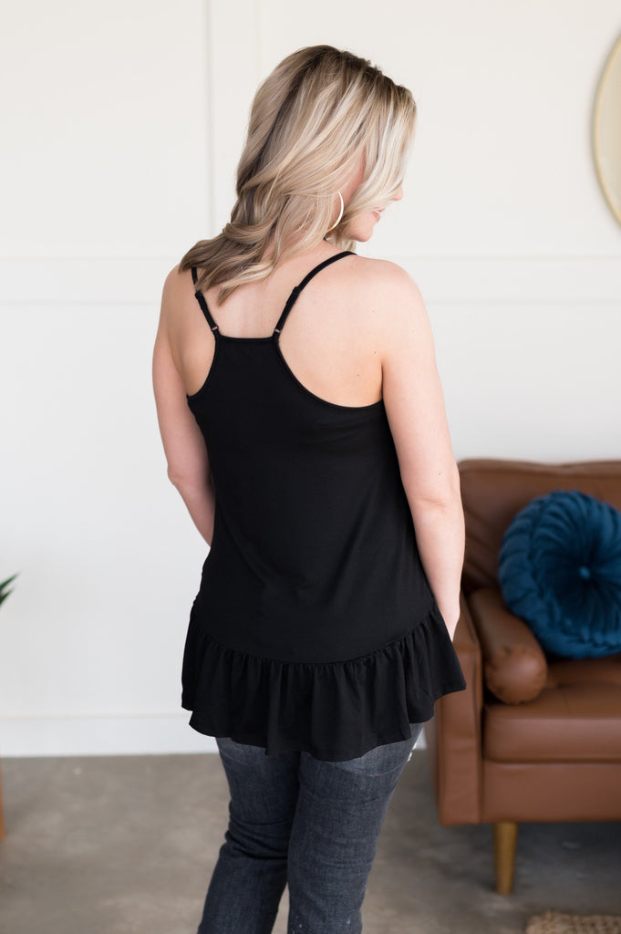 30, Flirty and Thriving Black Ruffle Sleeveless Top