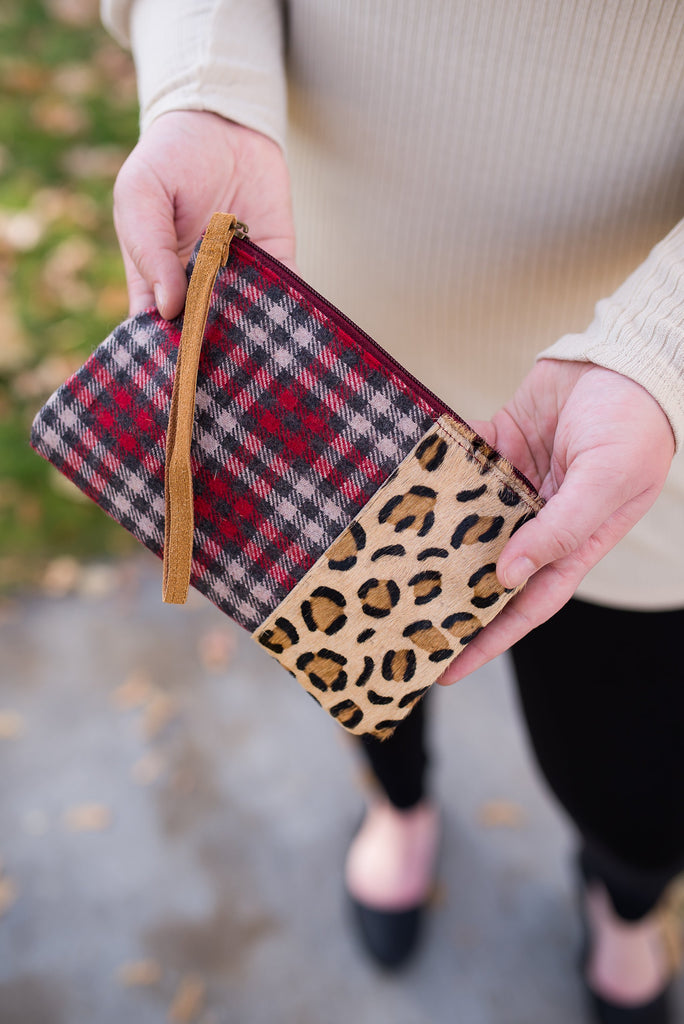 Leopard in Plaid Clutch