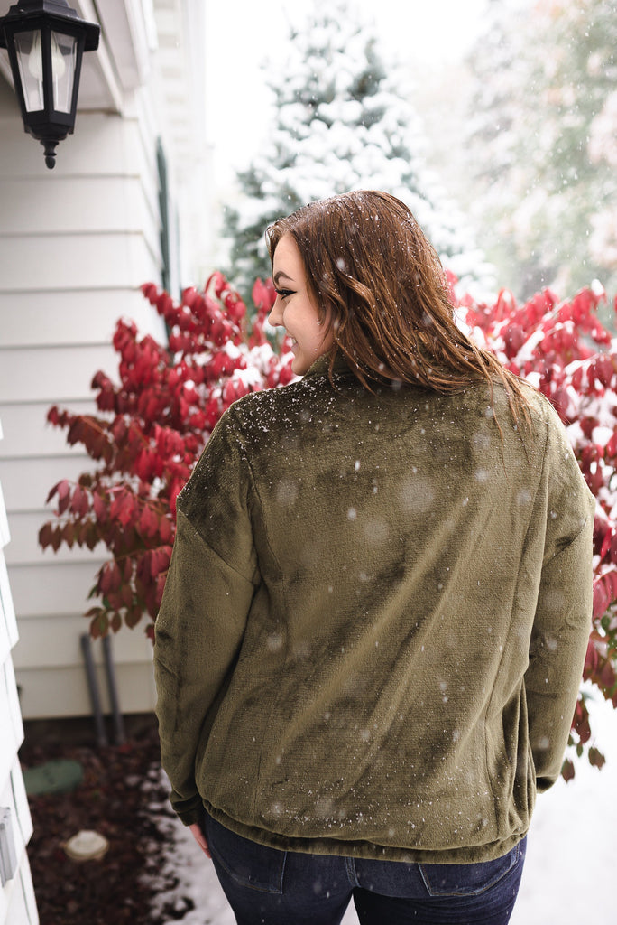 Wish You Were Here Olive Green Button Up Jacket