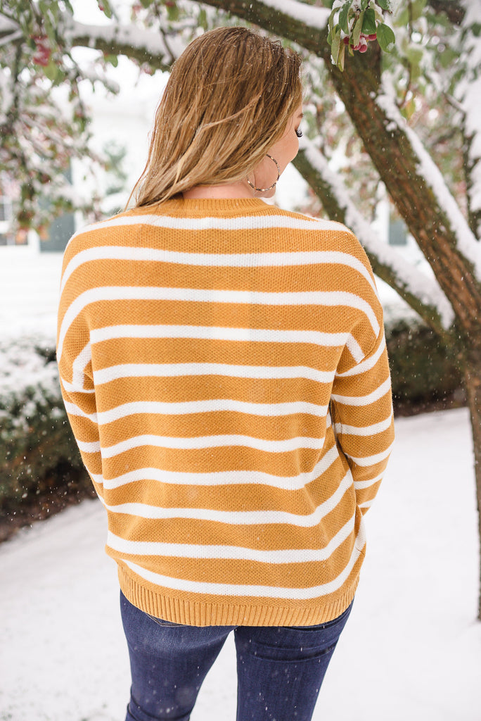 Don't Let The Sun Go Down On Me Mustard Striped Sweater