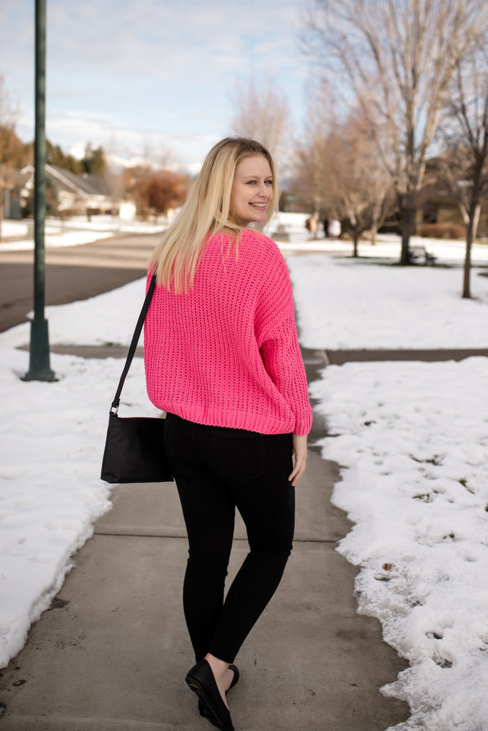 Spring Forward Sweater In Neon Pink
