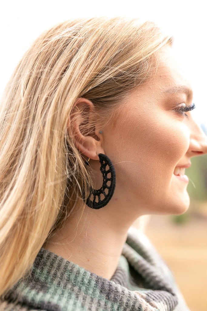 Irresistibly Yours Black Macramé Earrings