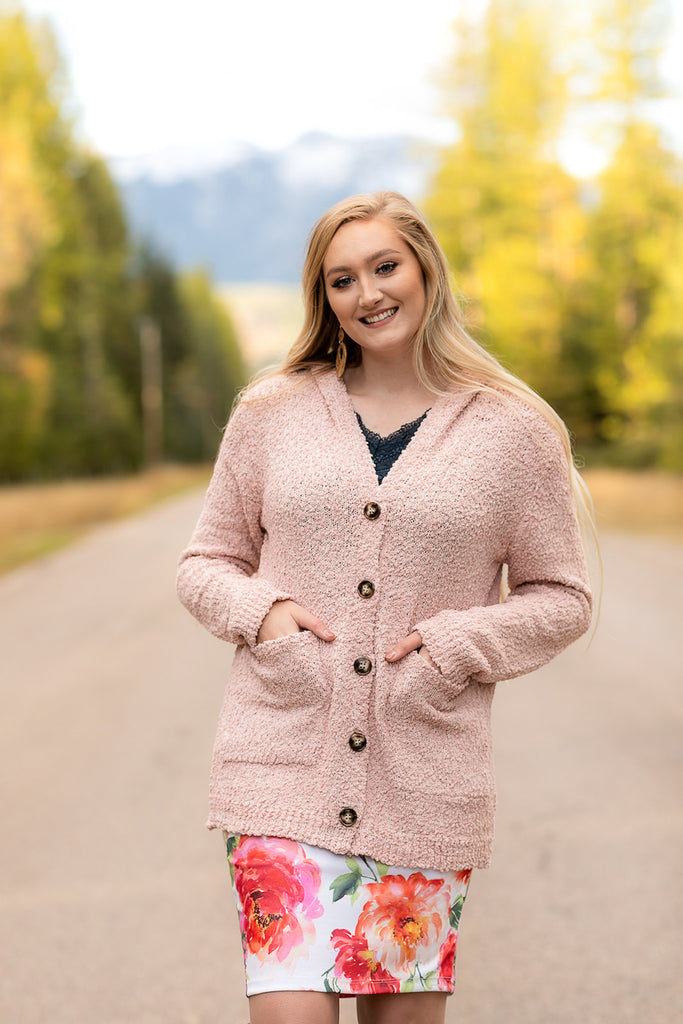 Stay Cozy In Blush Popcorn Cardigan