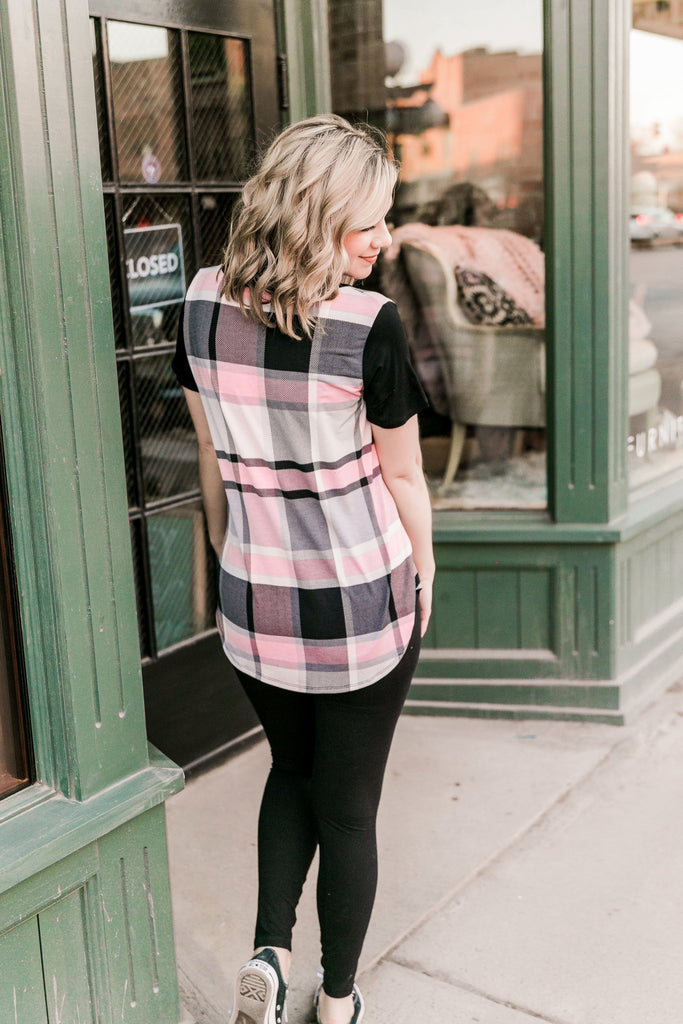 Check Twice Top In Pink Plaid