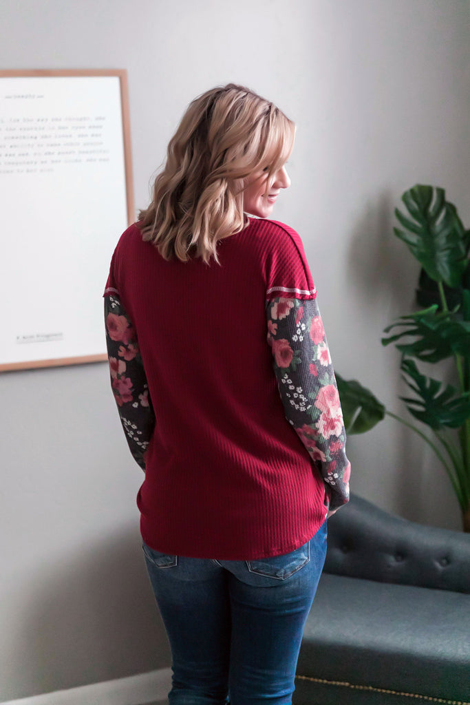 Always Have An Angle Burgundy Floral Top