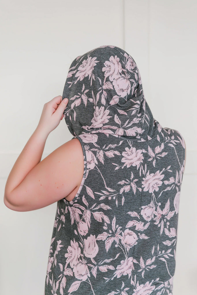 See You Soon Floral Sleeveless Hoodie