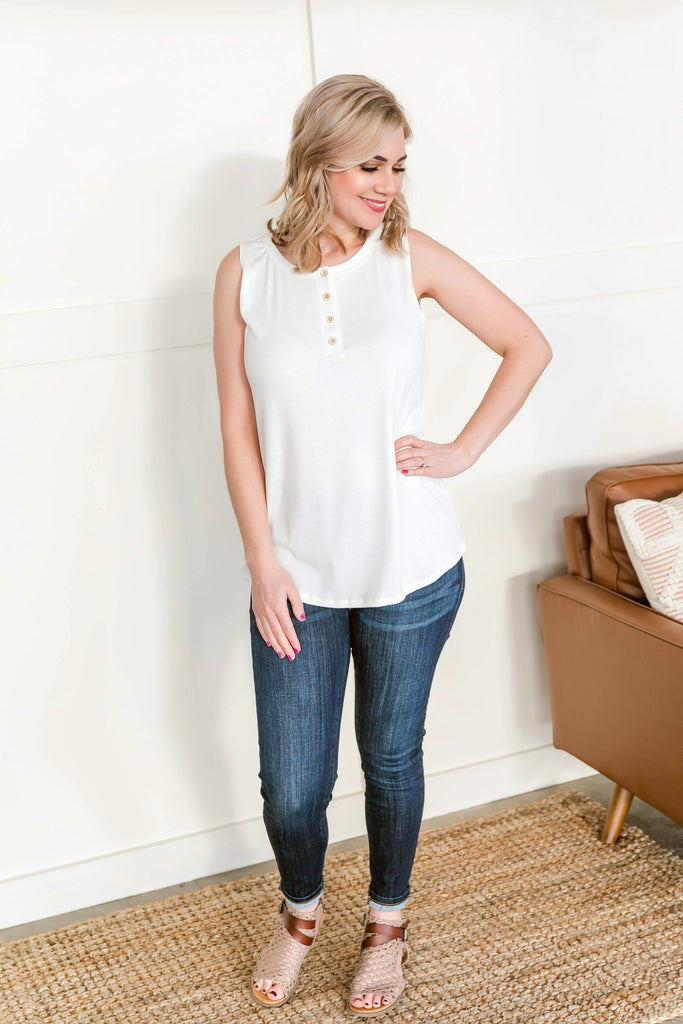 Tanks For The Memories Ivory Sleeveless Top