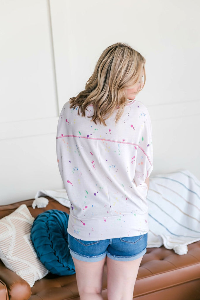 Funfetti Days Dolman Sleeve Top