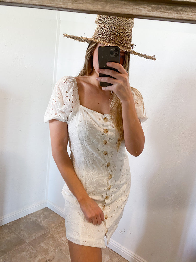 Pepper Puff Sleeve Lacey Dress