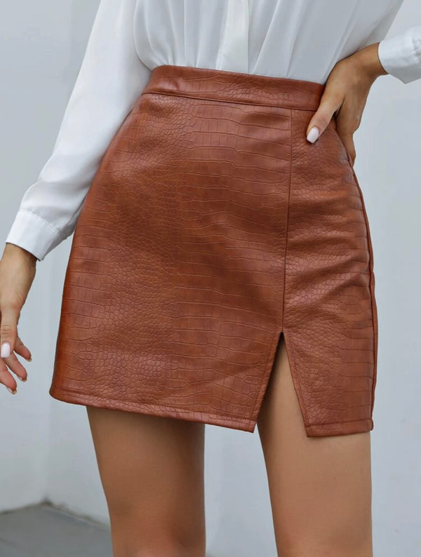 Lucky Faux Leather Skirt