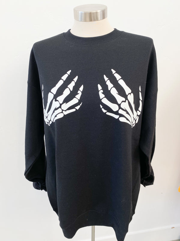 SKELETON HANDS CUSTOM CREWNECK