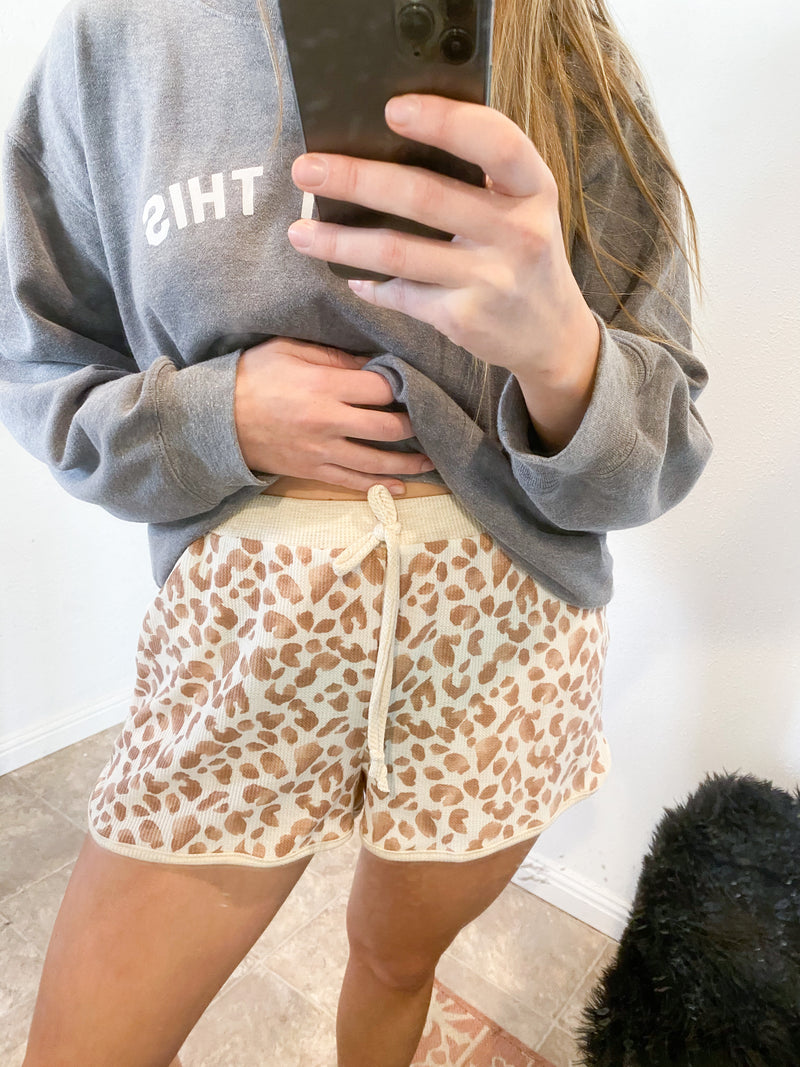 Leah Leopard Track Shorts