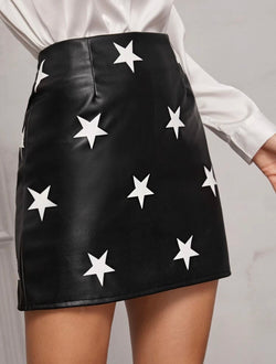 Stella Star Faux Leather Skirt