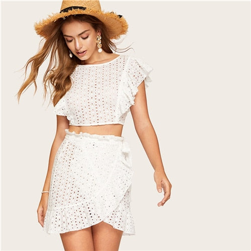 a3e625ece68e04 SHEIN White Lace Eyelet Ruffle Backless Knot Crop Top and Wrap Belted Mini  Skirt Set Women