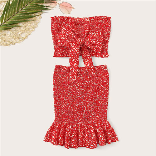9808c2c644 SHEIN Red Frilled Trim Bow Knot Dot Bandeau Crop Top And Skirt Two Piece  Set Summer