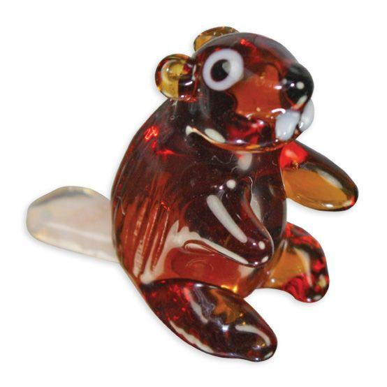 LookingGlass Bizee The Beaver Collectible Glass Miniature Figurine