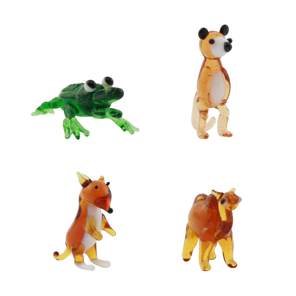 LookingGlass Animals 2 Set Minature Glass Collectibles, Pack of 4