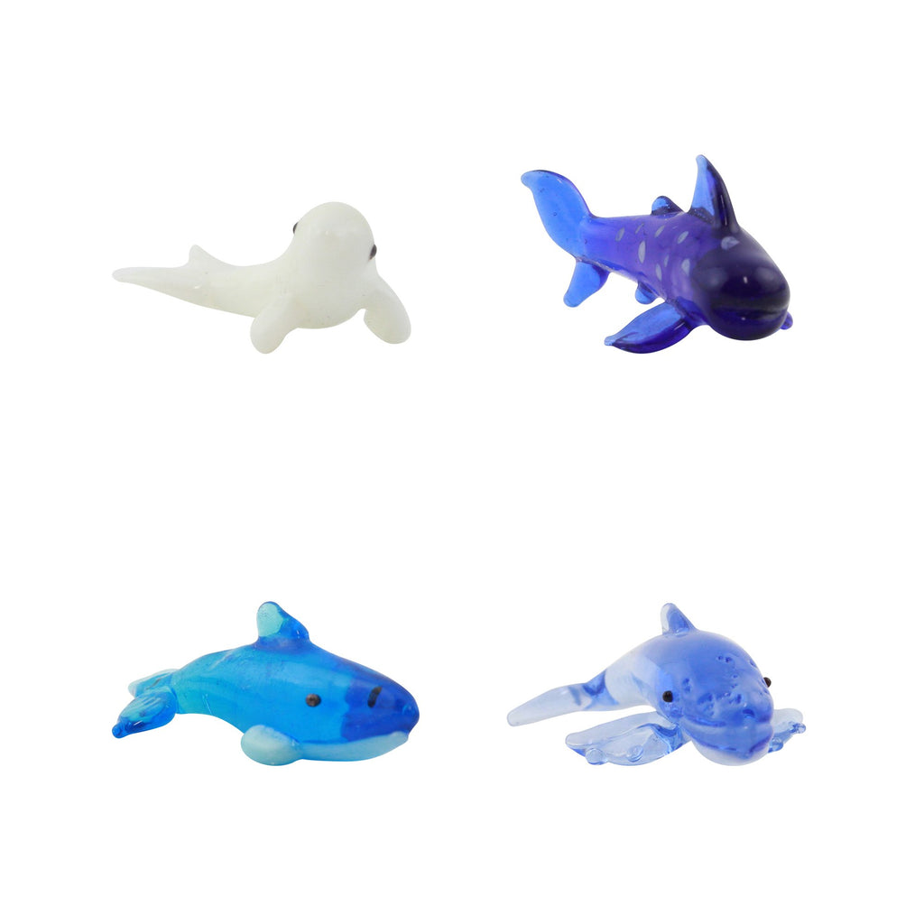 Looking Glass Sea Animal Miniature Collectible, Pack of 4