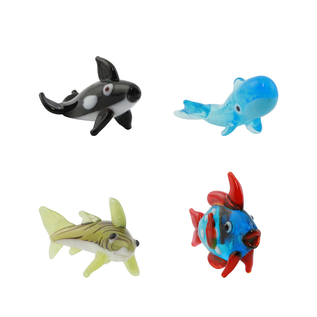 LookingGlass Sea Animals 2 Set Minature Glass Collectibles, Pack of 4