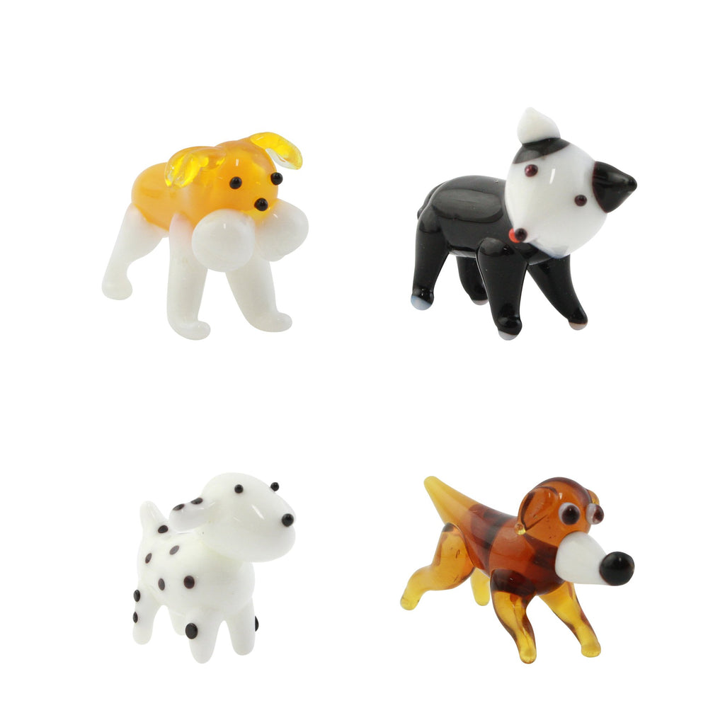 Looking Glass Dog Set Miniature Collectible, Pack of 4