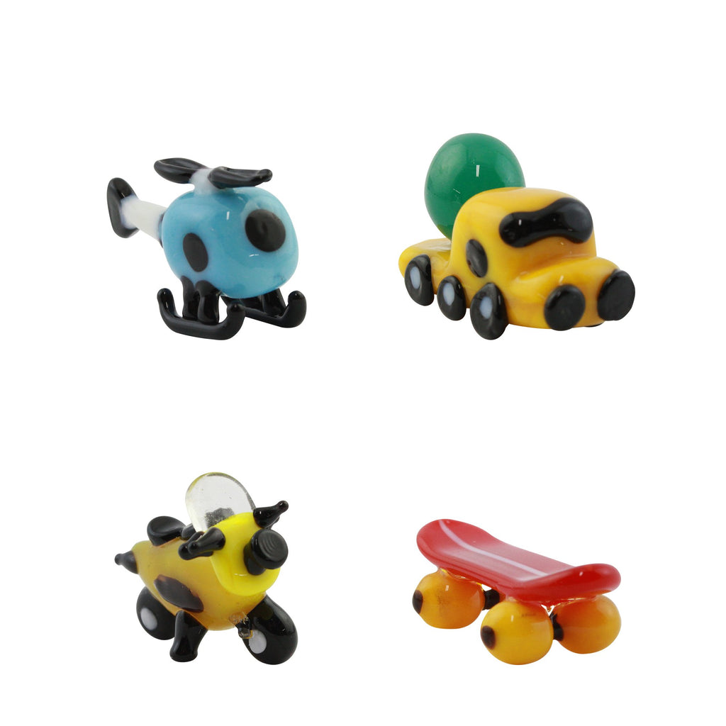 LookingGlass Vehicles 1 Set Minature Glass Collectibles, Pack of 4