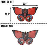 WindNSun Butterfly Indian Red Nylon Kite, 32 Inches Wide