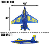 WindNSun WindForce Blue Angels Nylon 3D Kite, 40 Inches Wide