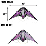 WindNSun EZ Sport 70 Dual Control Sport Kite Purple Hexagon Nylon Kite, 70 Inches Wide