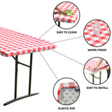TableClothPLUS Checkerboard Red and White Fitted Polyester Tablecloth 72 Inches Long