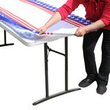 "TableClothPLUS 72"" Stars & Stripes Fitted Polyester Tablecloth for 6' Folding Tables"